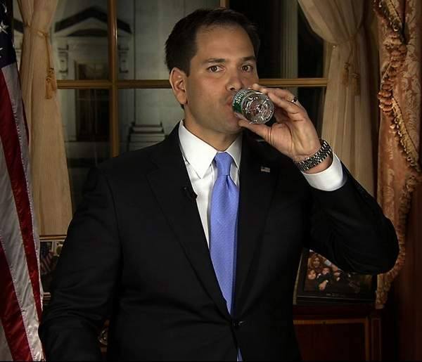 Marco Rubio with Bottle Water